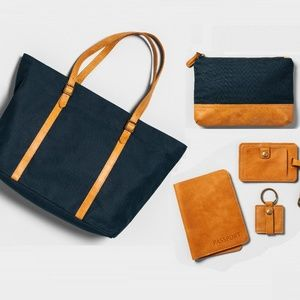 Hearth&Hand Magnolia Canvas & Leather Travel Set